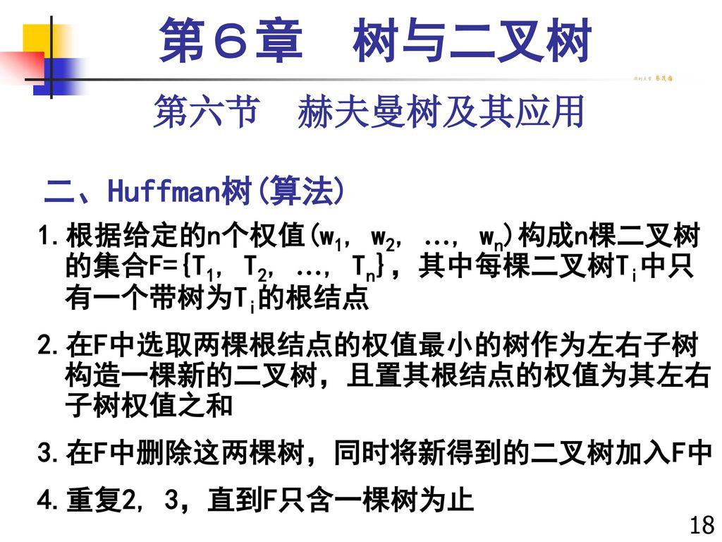 第6章 树与二叉树 第六节 赫夫曼树及其应用 二、Huffman树(算法)