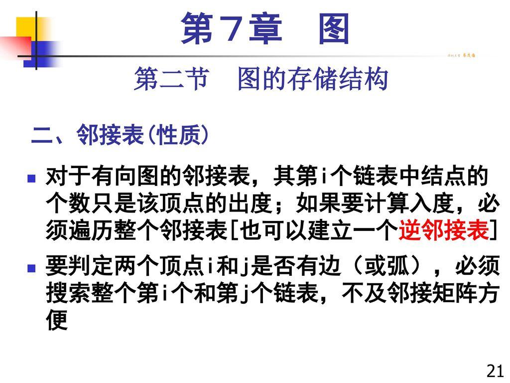 第7章 图 第二节 图的存储结构 二、邻接表(性质)
