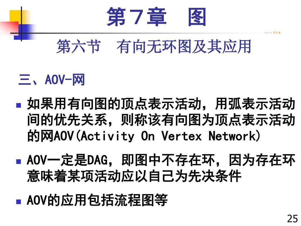 第7章 图 第六节 有向无环图及其应用 三、AOV-网