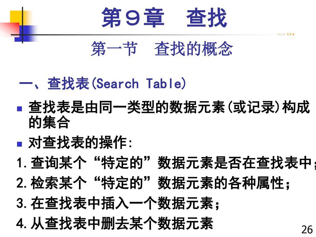 第9章 查找 第一节 查找的概念 一、查找表(Search Table) 查找表是由同一类型的数据元素(或记录)构成的集合 对查找表的操作: