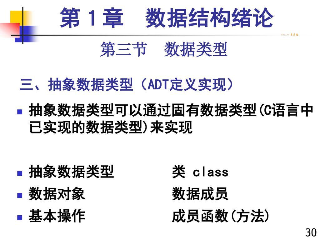 第1章 数据结构绪论 第三节 数据类型 三、抽象数据类型(ADT定义实现)