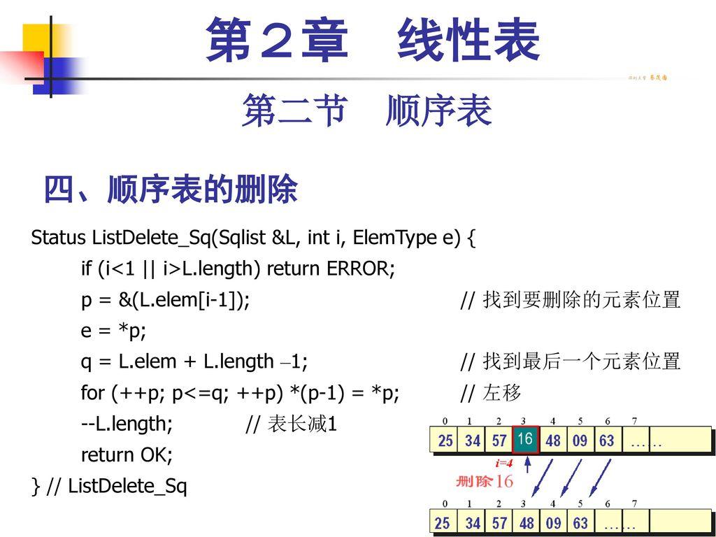 第2章 线性表 第二节 顺序表. 四、顺序表的删除. Status ListDelete_Sq(Sqlist &L, int i, ElemType e) { if (i<1    i>L.length) return ERROR;