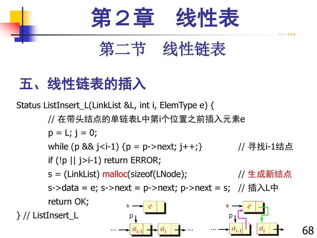 第2章 线性表 第二节 线性链表 五、线性链表的插入 68