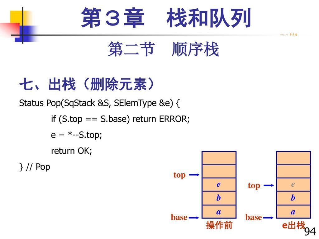 第3章 栈和队列 第二节 顺序栈 七、出栈(删除元素) 94 Status Pop(SqStack &S, SElemType &e) {