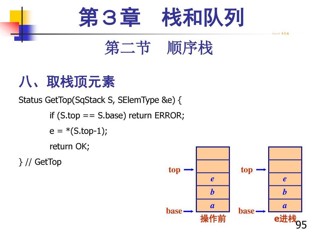 第3章 栈和队列 第二节 顺序栈 八、取栈顶元素 95 Status GetTop(SqStack S, SElemType &e) {