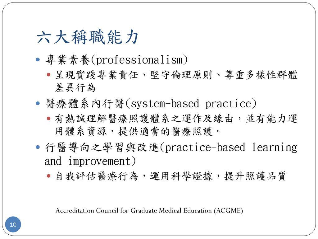 六大稱職能力 專業素養(professionalism) 醫療體系內行醫(system-based practice)