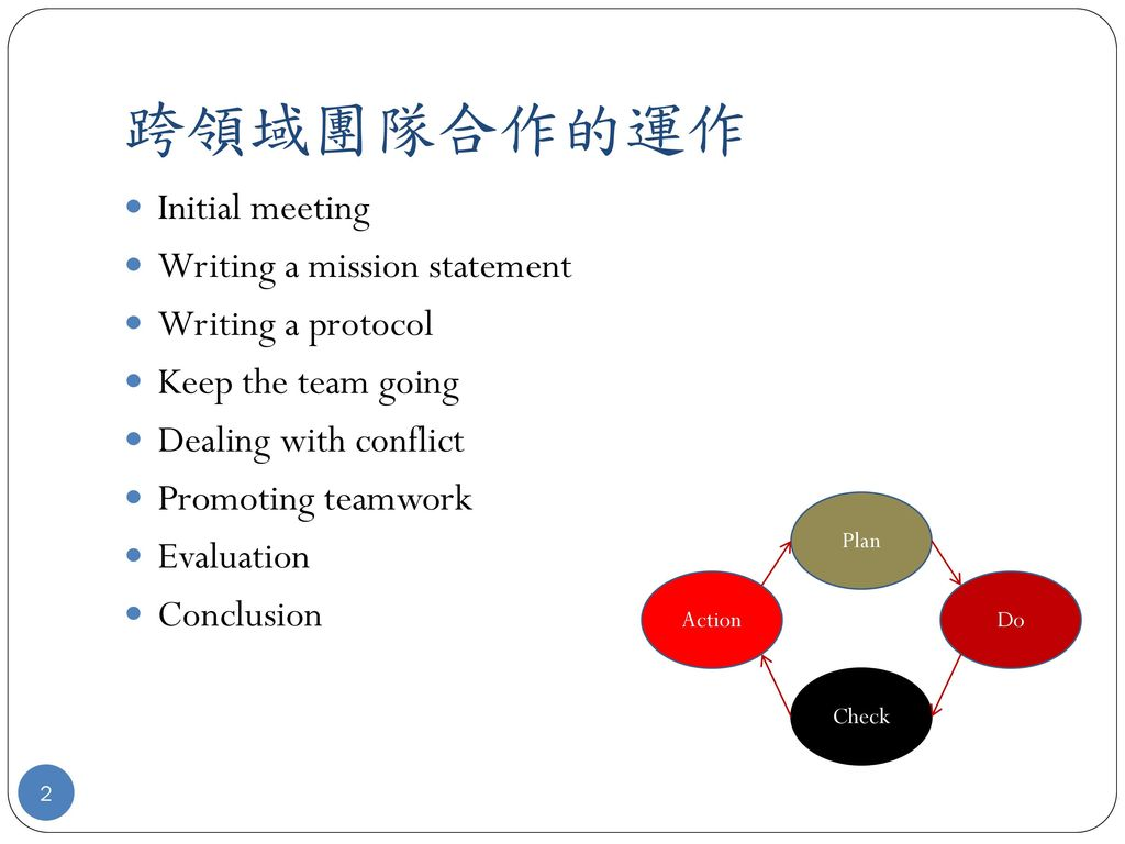 跨領域團隊合作的運作 Initial meeting Writing a mission statement