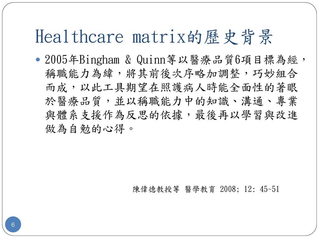Healthcare matrix的歷史背景
