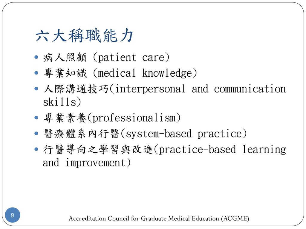 Accreditation Council for Graduate Medical Education (ACGME)