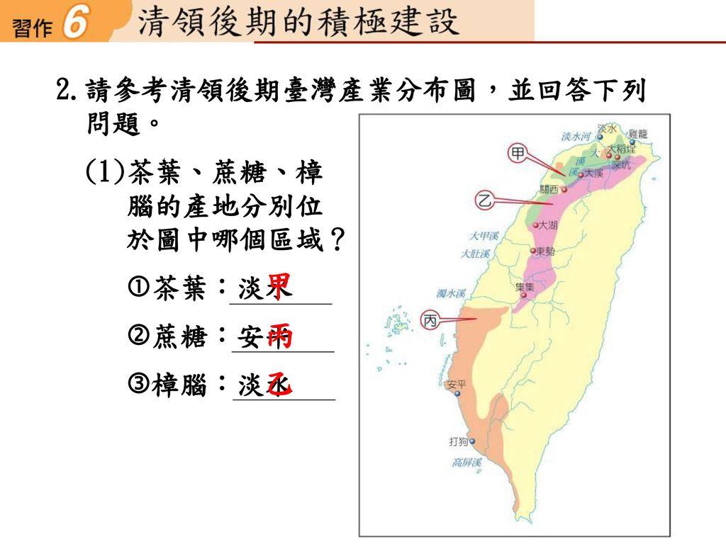 甲 丙 乙 2.請參考清領後期臺灣產業分布圖,並回答下列 問題。 (1)茶葉、蔗糖、樟 腦的產地分別位 於圖中哪個區域? 茶葉:淡水