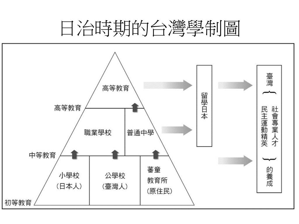 日治時期的台灣學制圖