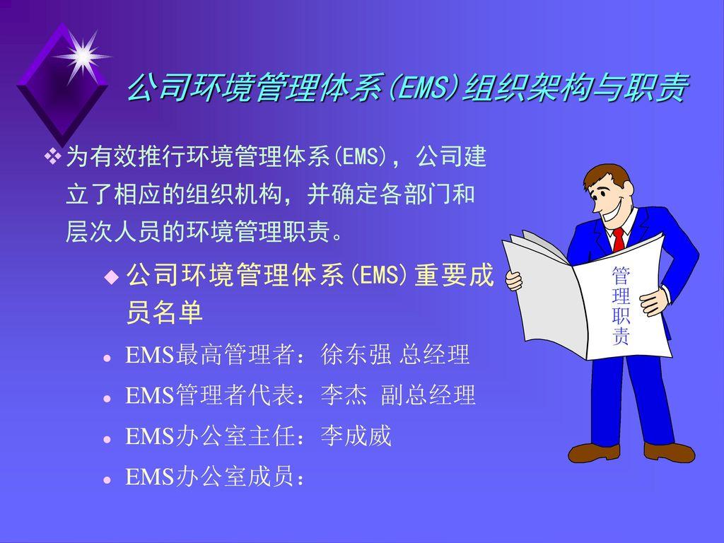 公司环境管理体系(EMS)组织架构与职责