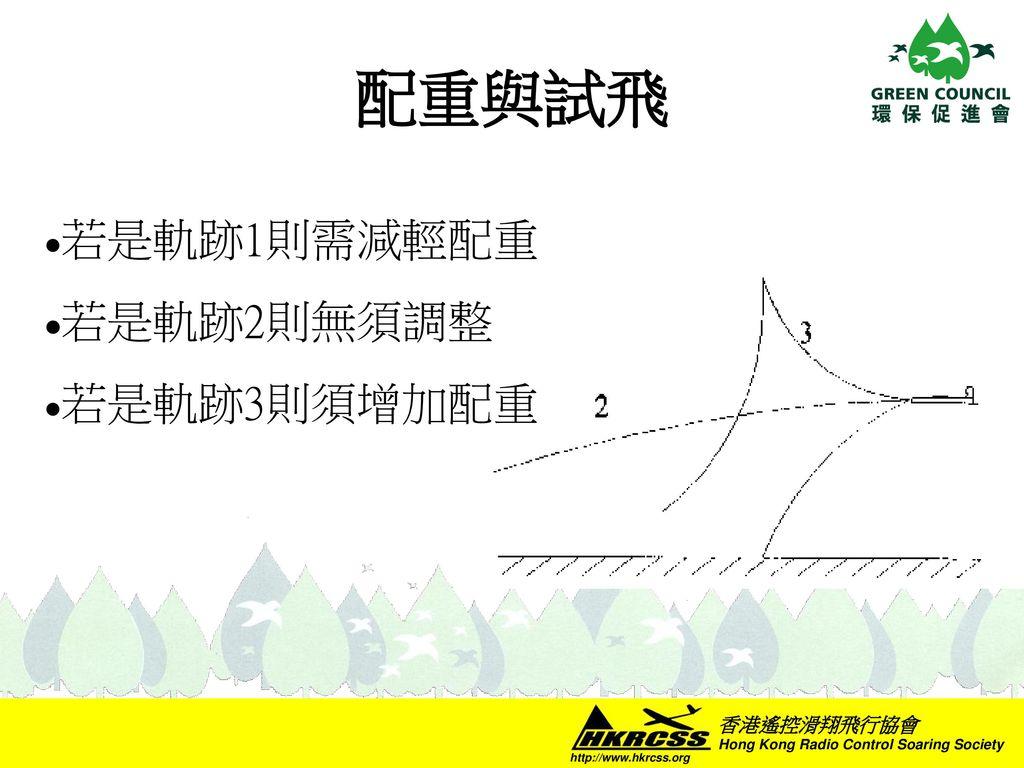 配重與試飛 若是軌跡1則需減輕配重 若是軌跡2則無須調整 若是軌跡3則須增加配重