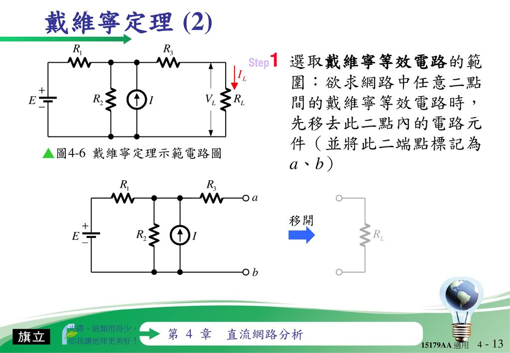 戴維寧定理 (2) ▲圖4-6 戴維寧定理示範電路圖 移開