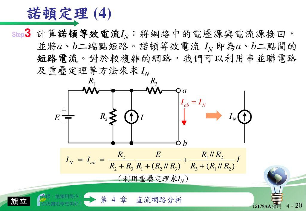 諾頓定理 (4) Step3 計算諾頓等效電流IN:將網路中的電壓源與電流源接回,並將a、b二端點短路。諾頓等效電流 IN 即為a、b二點間的短路電流。對於較複雜的網路,我們可以利用串並聯電路及重疊定理等方法來求 IN.
