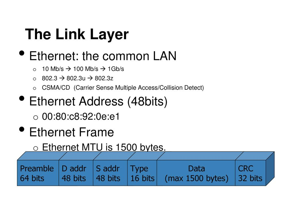 The Link Layer Ethernet: the common LAN Ethernet Address (48bits)