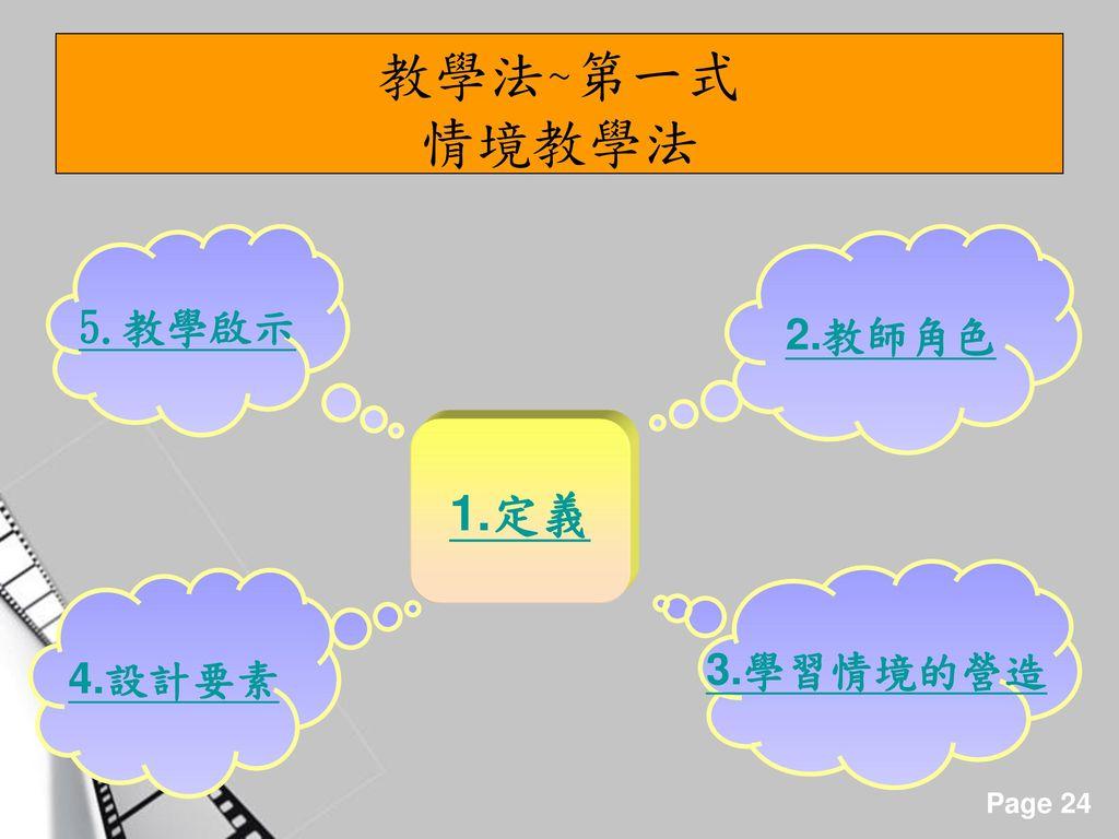教學法~第一式 情境教學法 5.教學啟示 2.教師角色 1.定義 3.學習情境的營造 4.設計要素