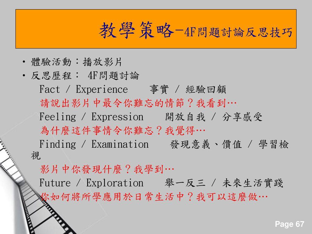 教學策略-4F問題討論反思技巧 體驗活動:播放影片 反思歷程: 4F問題討論 Fact / Experience 事實 / 經驗回顧