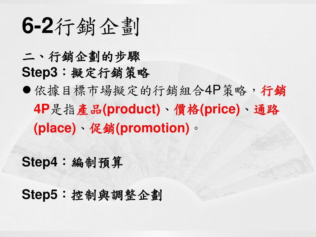 6-2行銷企劃 二、行銷企劃的步驟 Step3:擬定行銷策略