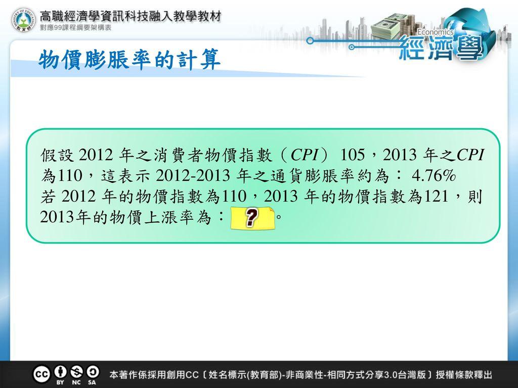 物價膨脹率的計算 假設 2012 年之消費者物價指數(CPI) 105,2013 年之CPI 為110,這表示 2012-2013 年之通貨膨脹率約為: 4.76% 若 2012 年的物價指數為110,2013 年的物價指數為121,則 2013年的物價上漲率為: 10 %。