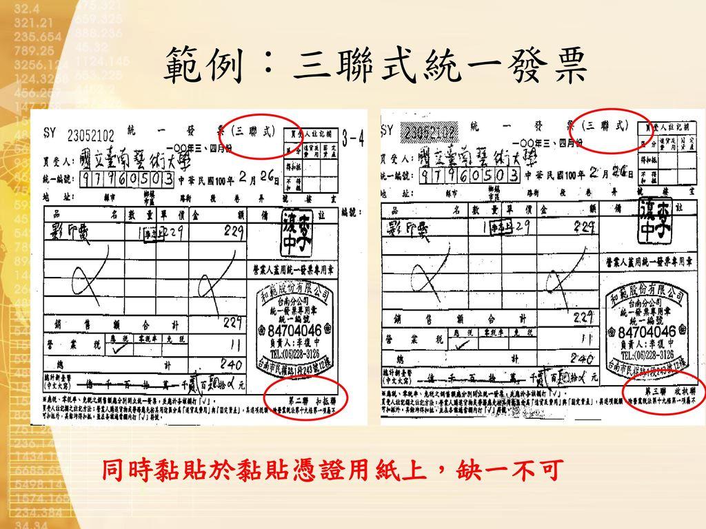 範例:三聯式統一發票 同時黏貼於黏貼憑證用紙上,缺一不可