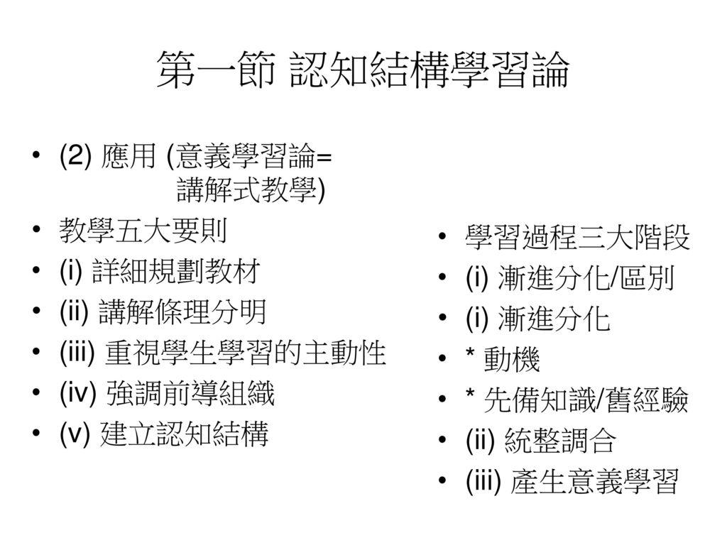 第一節 認知結構學習論 (2) 應用 (意義學習論= 講解式教學) 教學五大要則 學習過程三大階段 (i) 詳細規劃教材