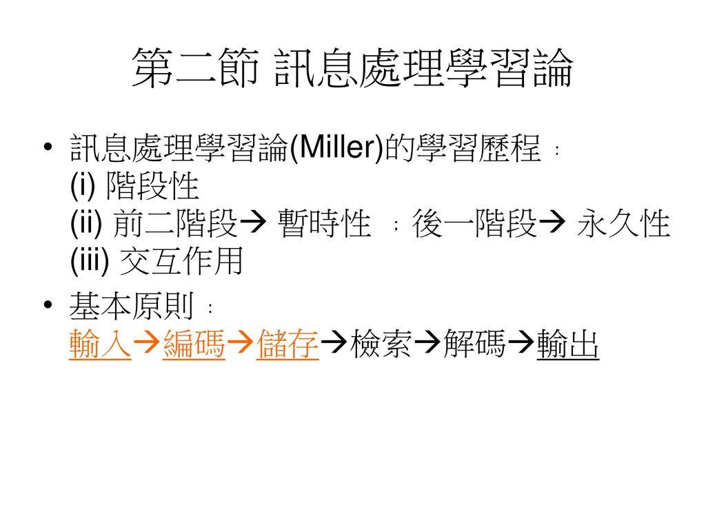 第二節 訊息處理學習論 訊息處理學習論(Miller)的學習歷程﹕ (i) 階段性 (ii) 前二階段 暫時性 ﹔後一階段 永久性 (iii) 交互作用.