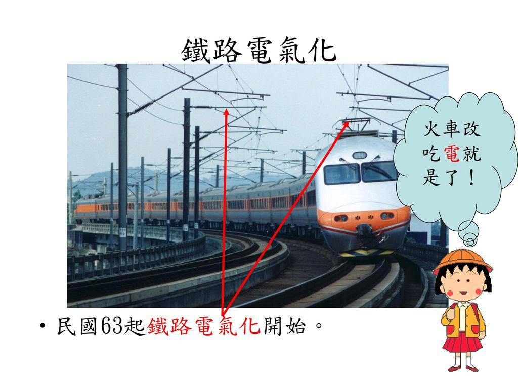 鐵路電氣化 火車改吃電就是了! 民國63起鐵路電氣化開始。