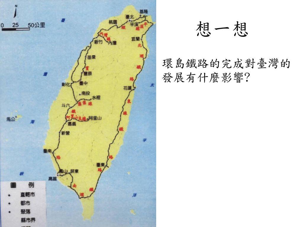 想一想 環島鐵路的完成對臺灣的發展有什麼影響