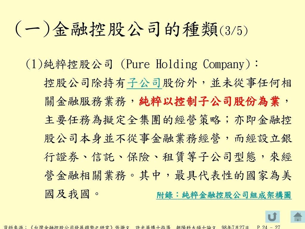 (一)金融控股公司的種類(3/5)