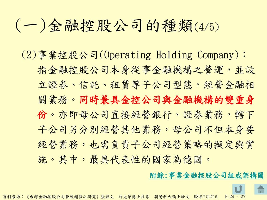 (一)金融控股公司的種類(4/5)