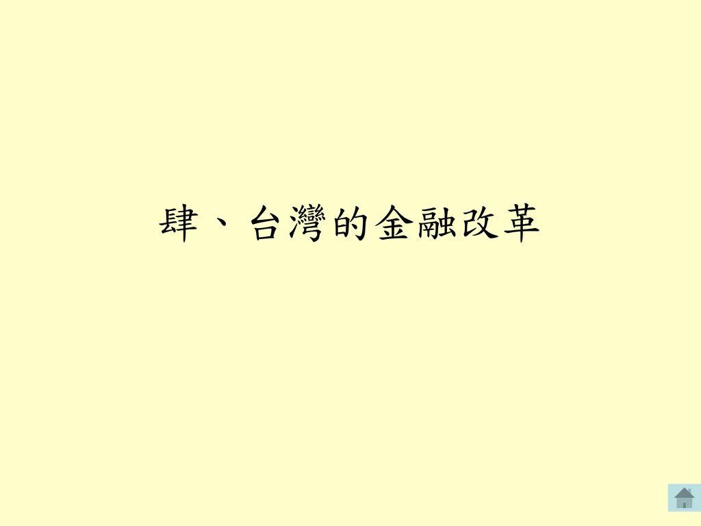 肆、台灣的金融改革