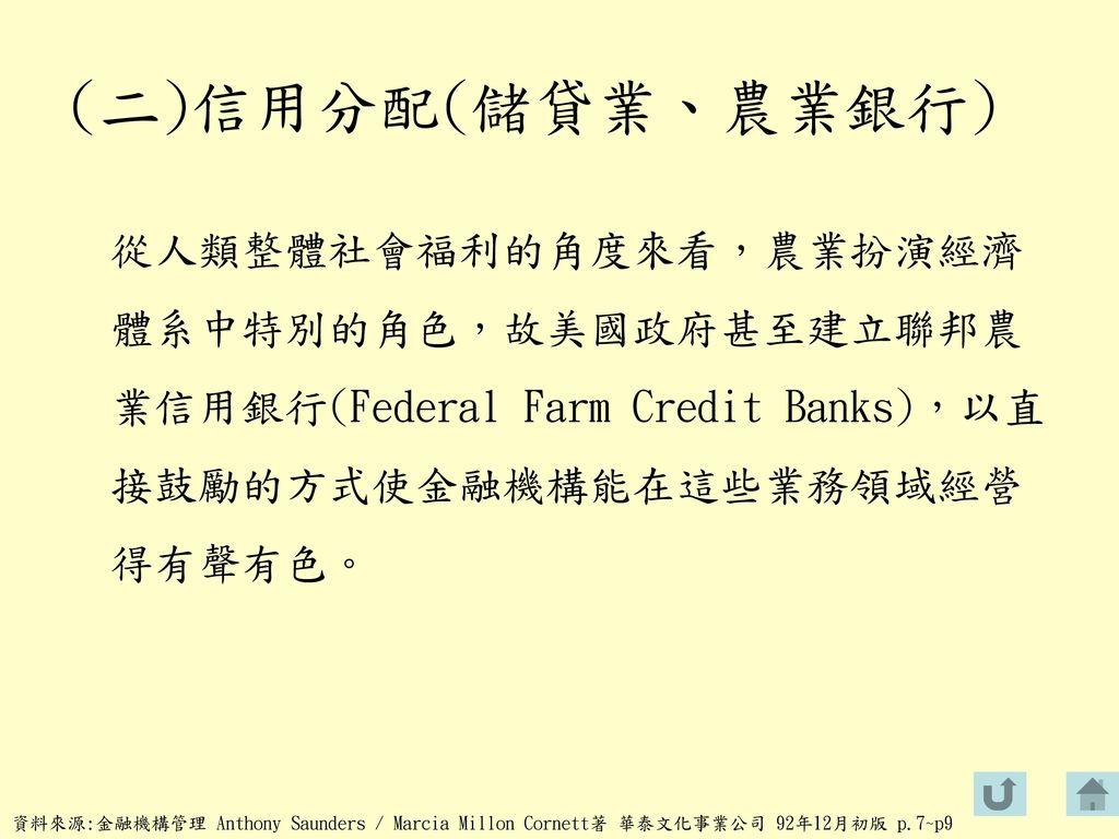 (二)信用分配(儲貸業、農業銀行) 從人類整體社會福利的角度來看,農業扮演經濟體系中特別的角色,故美國政府甚至建立聯邦農業信用銀行(Federal Farm Credit Banks),以直接鼓勵的方式使金融機構能在這些業務領域經營得有聲有色。