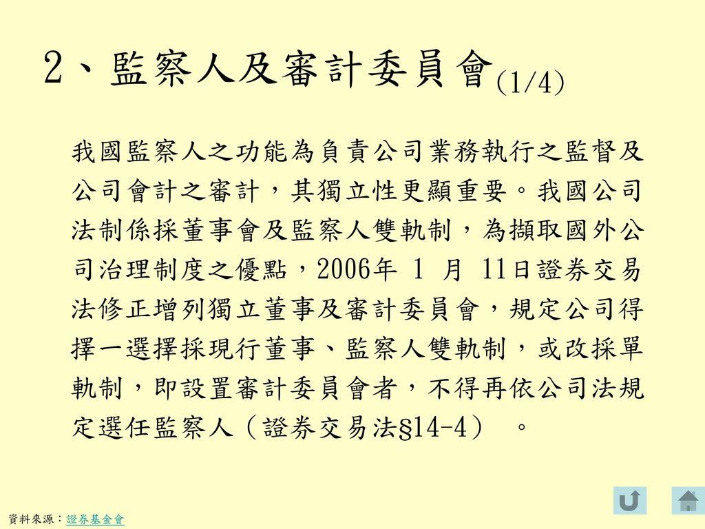 2、監察人及審計委員會(1/4)