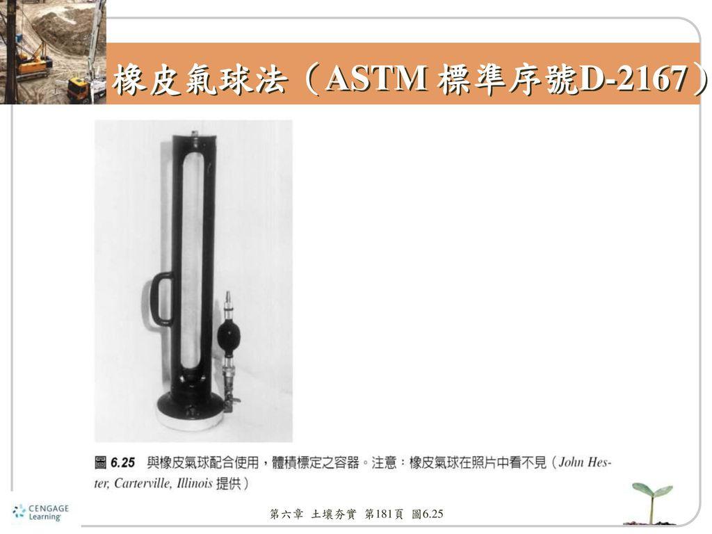 橡皮氣球法(ASTM 標準序號D-2167) 第六章 土壤夯實 第181頁 圖6.25
