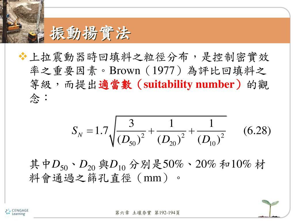 振動揚實法 上拉震動器時回填料之粒徑分布,是控制密實效率之重要因素。Brown(1977)為評比回填料之等級,而提出適當數(suitability number)的觀念: 其中D50、D20 與D10 分別是50%、20% 和10% 材料會通過之篩孔直徑(mm)。