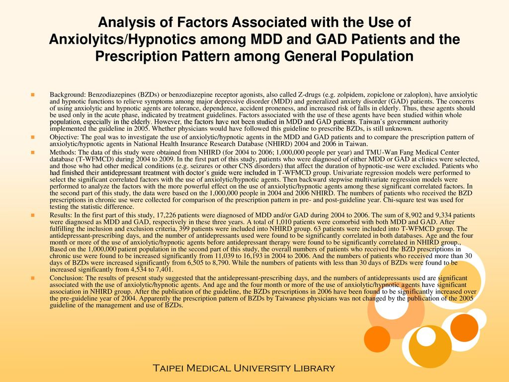 Analysis of Factors Associated with the Use of Anxiolyitcs/Hypnotics among MDD and GAD Patients and the Prescription Pattern among General Population