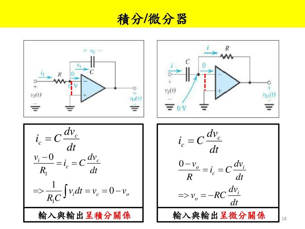 積分/微分器 輸入與輸出呈積分關係 輸入與輸出呈微分關係