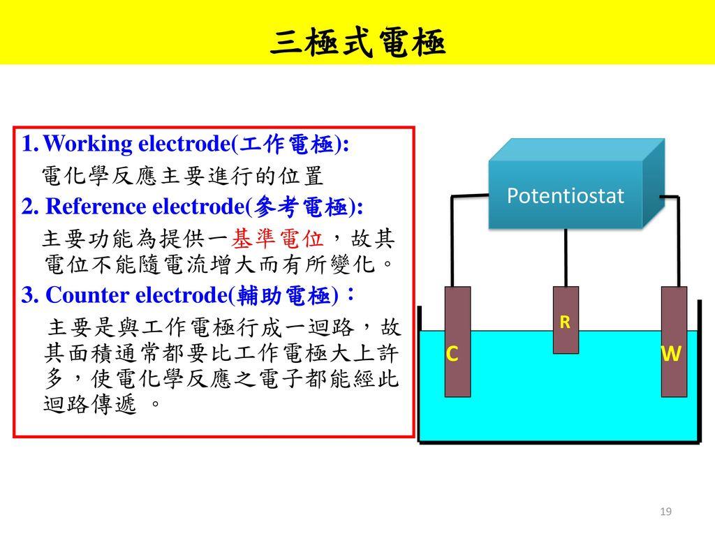 三極式電極 Working electrode(工作電極): 電化學反應主要進行的位置