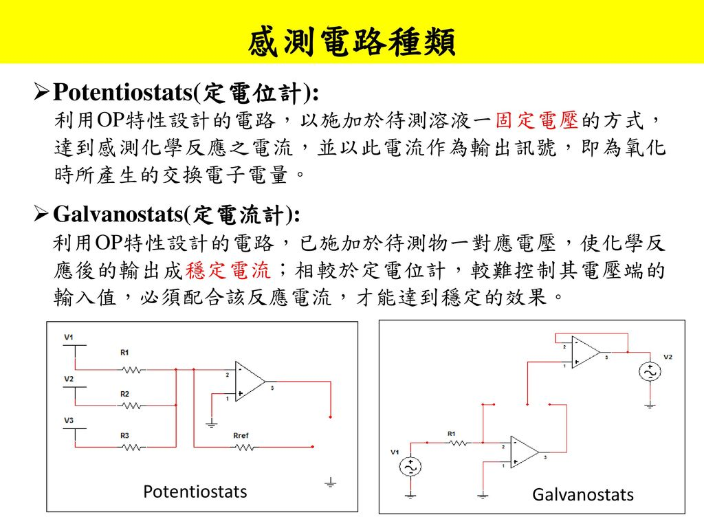 感測電路種類 Potentiostats(定電位計): Galvanostats(定電流計):
