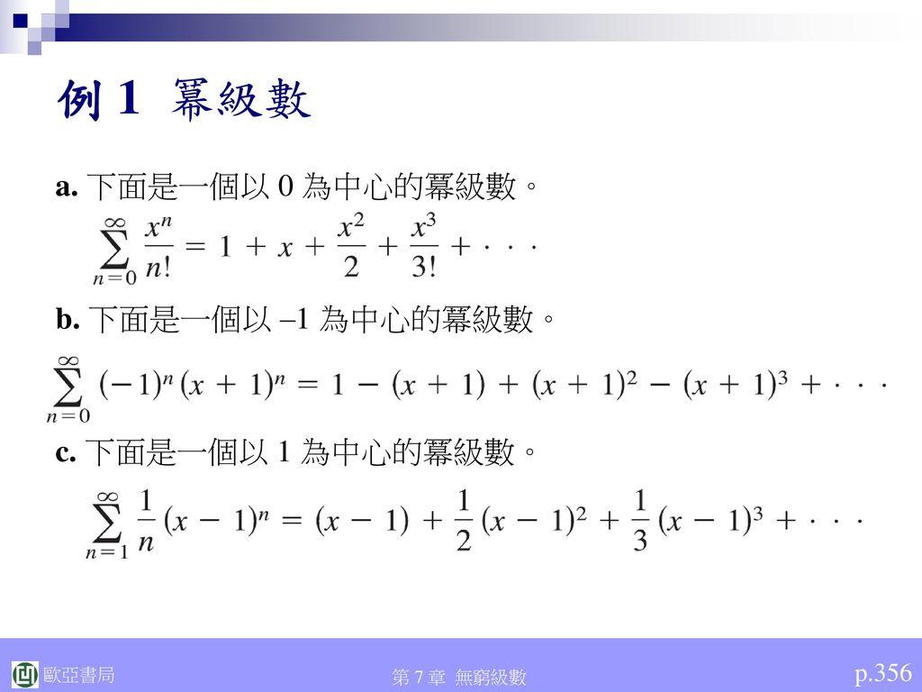 例 1 冪級數 a. 下面是一個以 0 為中心的冪級數。 b. 下面是一個以 –1 為中心的冪級數。