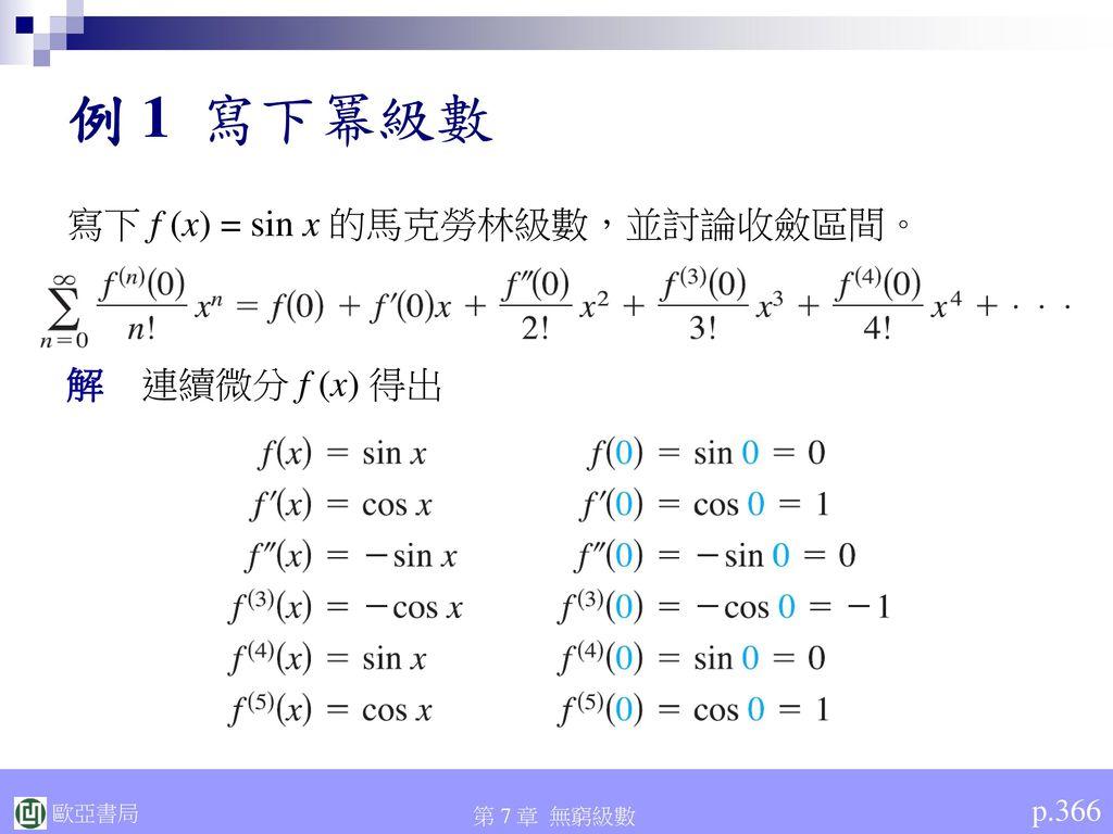 例 1 寫下冪級數 寫下 f (x) = sin x 的馬克勞林級數,並討論收斂區間。 解 連續微分 f (x) 得出 p.366