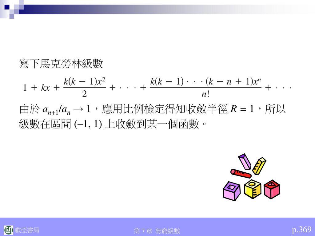 由於 an+1/an → 1,應用比例檢定得知收斂半徑 R = 1,所以 級數在區間 (–1, 1) 上收斂到某一個函數。