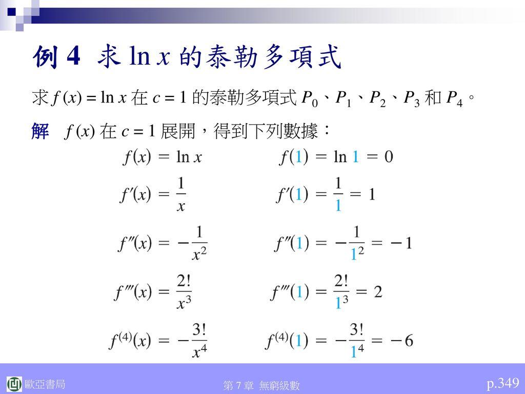 例 4 求 ln x 的泰勒多項式 求 f (x) = ln x 在 c = 1 的泰勒多項式 P0、P1、P2、P3 和 P4。