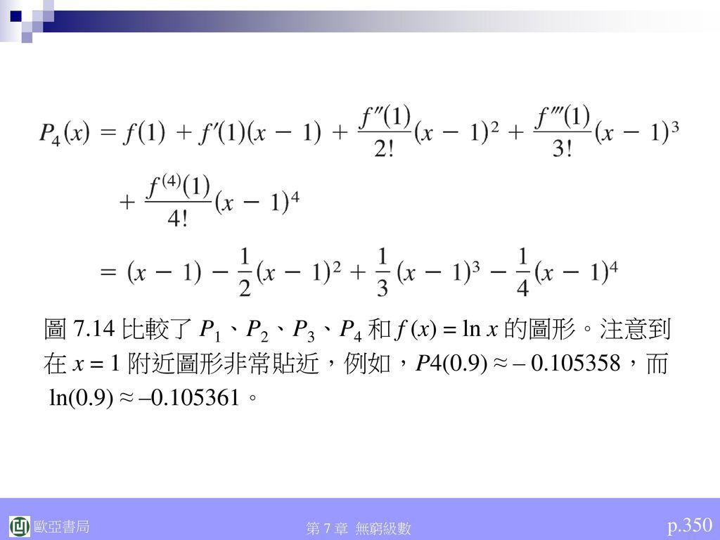 圖 7.14 比較了 P1、P2、P3、P4 和 f (x) = ln x 的圖形。注意到