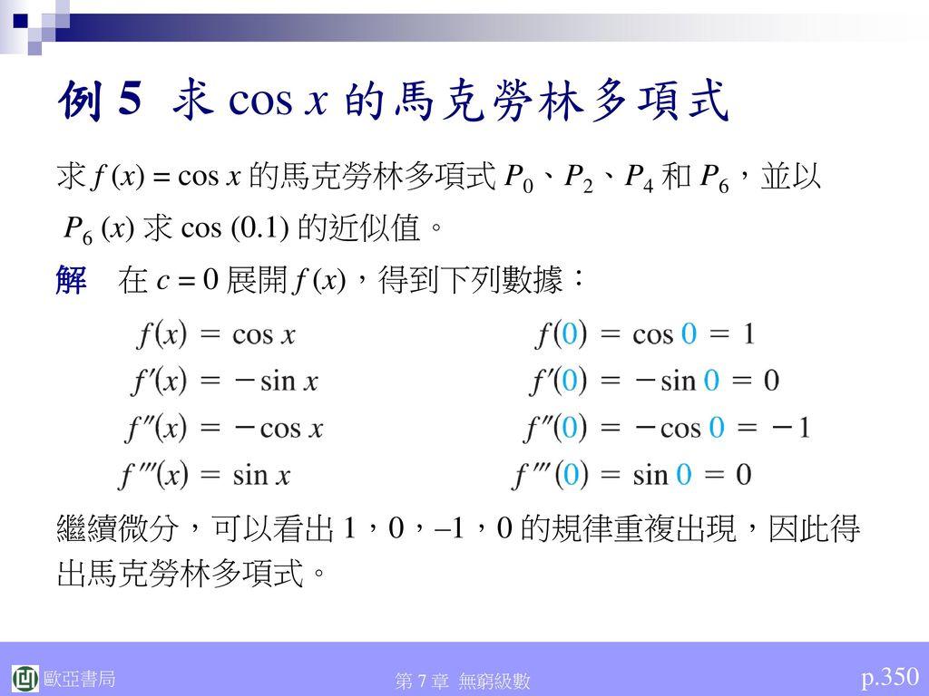 例 5 求 cos x 的馬克勞林多項式 求 f (x) = cos x 的馬克勞林多項式 P0、P2、P4 和 P6,並以