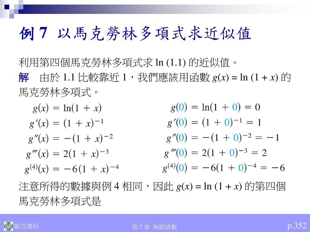 例 7 以馬克勞林多項式求近似值 利用第四個馬克勞林多項式求 ln (1.1) 的近似值。