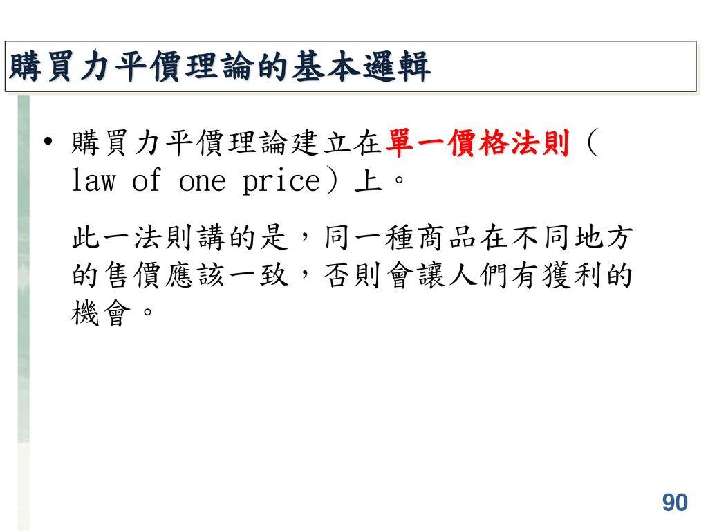 購買力平價理論的基本邏輯 購買力平價理論建立在單一價格法則(law of one price)上。