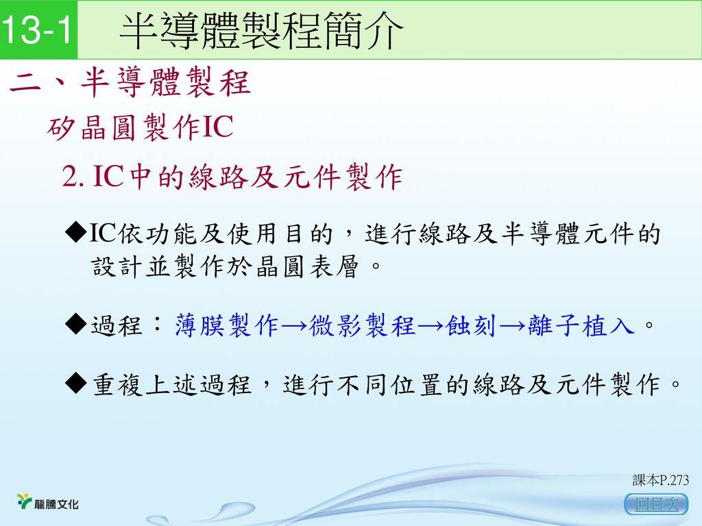 13-1 半導體製程簡介 二、半導體製程 矽晶圓製作IC 2. IC中的線路及元件製作