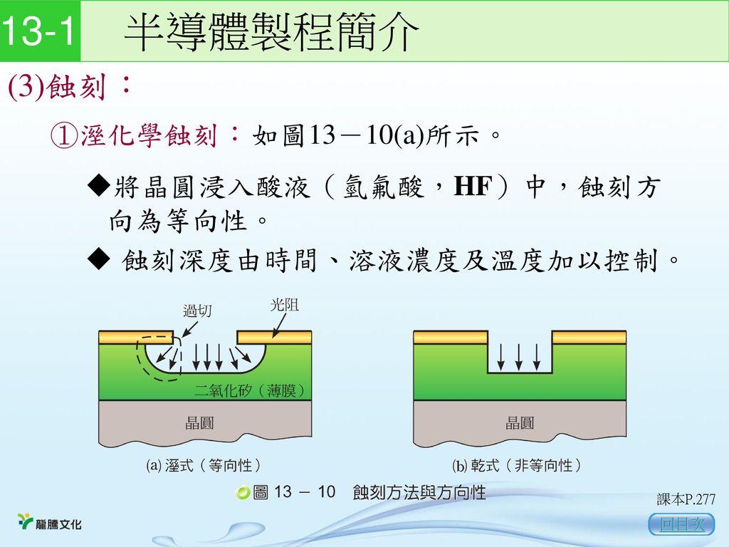 13-1 半導體製程簡介 (3)蝕刻: ①溼化學蝕刻: 如圖13-10(a)所示。 將晶圓浸入酸液(氫氟酸,HF)中,蝕刻方向為等向性。